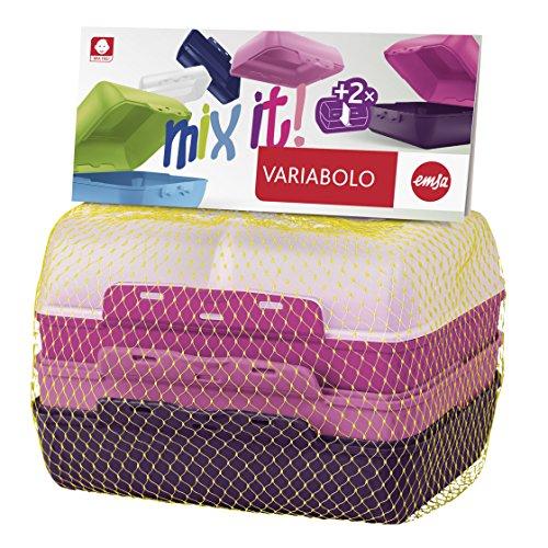Emsa 517052 Variabolo Boîte-Repas pour Fille Plastique Multicolore 18 x 18 x 12 cm Pack de 4
