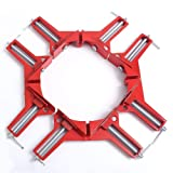 OTRMAX 90-Degree Right Angle Clamp Quick-grip Corner Clamp DIY Woodworking Frame Picture Glass Holder, Set of 4 (Color: Red)