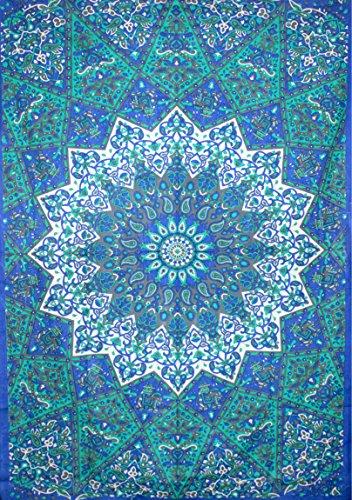 kesrie Star Blu Mandala Arazzo da parete Hippie Boho Home Decor indiano stampato puro cotone