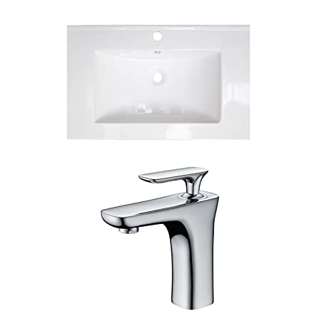 "Jade Bath JB-15745 32"" W x 18"" D Ceramic Top Set with Single Hole CUPC Faucet, White"