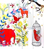 3-panel Double Sided Painting Canvas Room Divider Screen, Horse - Elephants Birds Kids Screen