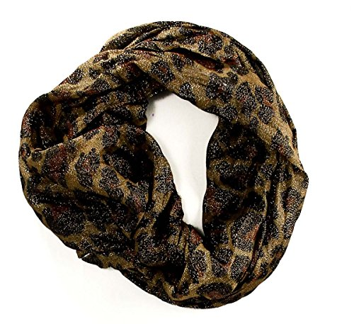 Cejon Women'S Scarf Infinity Loop Animal Print Leopard Metallic