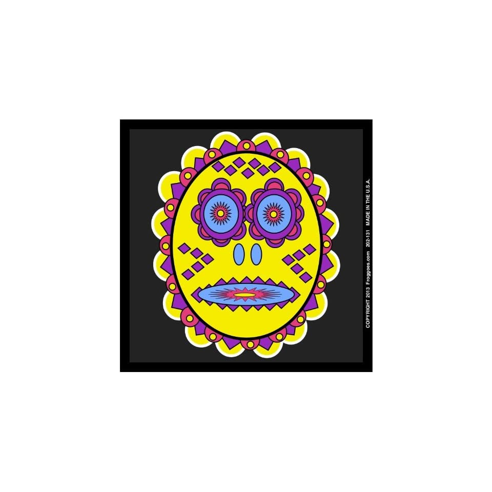 TRIBAL DAY OF THE DEAD   YELLOW/BLACK   STICK ON CAR DECAL SIZE 3 1/2 x 3 1/2   VINYL DECAL WINDOW STICKER   NOTEBOOK, LAPTOP, WALL, WINDOWS, ETC. COOL BUMPERSTICKER