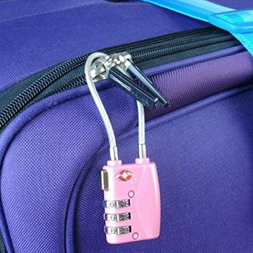 Foxnovo Portable Tsa Approved Security Cable Luggage Lock 3-Digit Combination Password Lock Padlock (Pink)