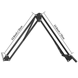 YUOCU Professional Studio Condenser Microphone Suspension Mic Clip Adjustable & Durable Steel Boom Scissor Arm Stand for Radio Broadcasting Studio, Voice-Over Sound Studio, Stages, and TV Stations (Tamaño: Stand)