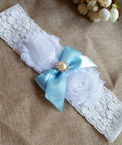 Wedding Bue Ribbon Bow with Pearl Lace Garter