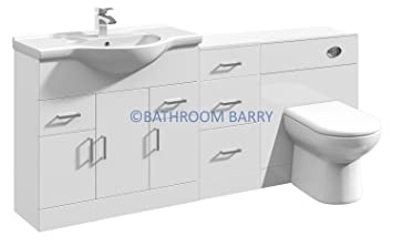 1800mm Modular High Gloss White Bathroom Combination Vanity Basin Sink Cabinet, Three Drawer Cupboard, WC Toilet Furniture & BTW Pan