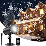 ALOVECO Christmas Snowflake Projector Lights, Upgrade Rotating LED Snowfall Projection Lamp with Remote Control, Outdoor Waterproof Sparkling Landscape Decorative Lighting for Halloween Xmas Party (Color: Black)