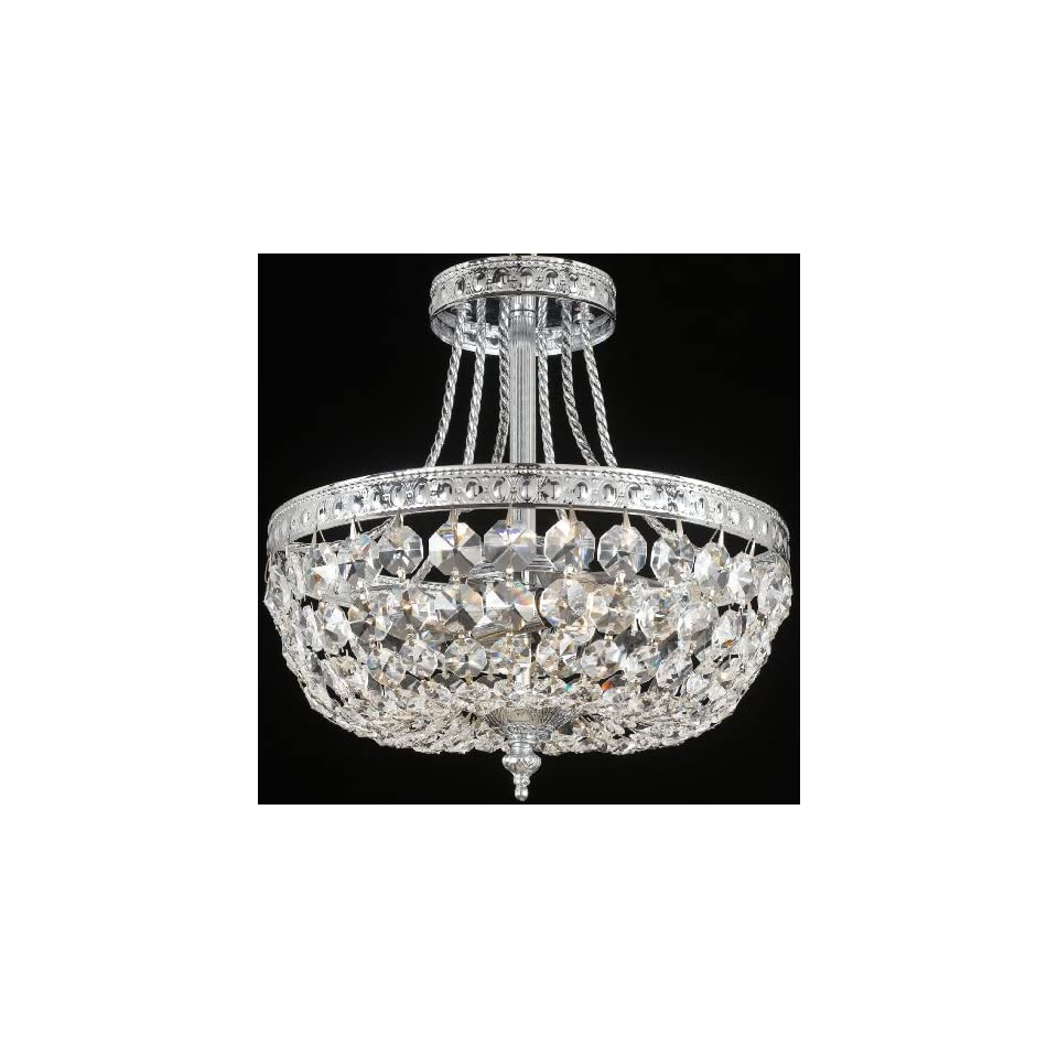 Crystorama Lighting 119 12 CH CL S Flush Mount with Swarovski Elements Crystals, Chrome
