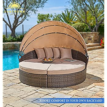 Suncrown Outdoor Furniture Wicker Daybed with Retractable Canopy | Clamshell Seating Separates to 4 Chairs, 1 Table | All-Weather Washable Cushions | Patio, Backyard, Porch, Pool