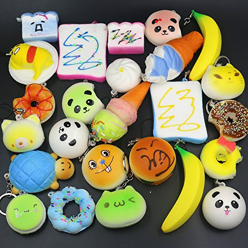 Trasfit 10 Pieces Random Squishy Charms Kawaii Soft Foods Jumbo Squishies Cake/Panda/Bread/Buns ...