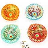 Ghasitaram Gifts Set Of Four Colourful Diyas With 200 Gms Kaju Katli