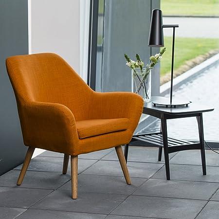 lounge-zone Loungestuhl Sessel Clubsessel Stuhl Armstuhl Cocktailsessel Relaxsessel CHICAGO Holzbeine ölbehandelt Stoffbezug orange 12951