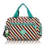 Women Nylon Flower Handbags Casual Mom Bags Shoulder Bags Crossbody Bag (Coffee)