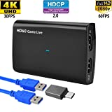 Video Capture HDMI Out USB 3.0 Game Recorder Device Card - 4K 1080P HD60 Gaming Cloner Drive-Free Live Stream Recording Box with Mic for Mac Pro Xbox PS4 Wii U PS3 DSLR PC Laptop Windows 10 Cell Phone