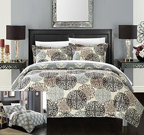Chic-Home-3-Piece-Kelsie-Boho-Inspired-Reversible-Print-Quilt-Set-King-Beige