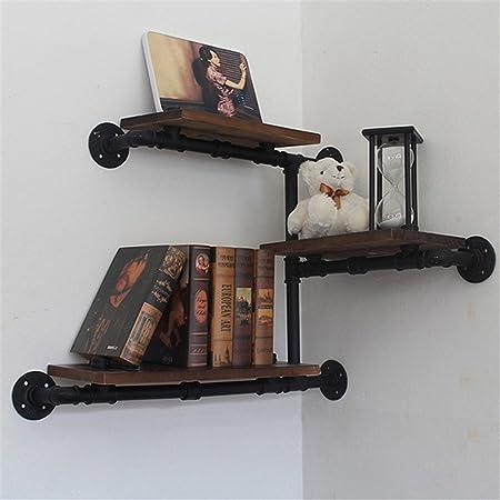 Rack de estantería de pared adornos de almacenamiento/Bookcases-Shelf plancha para colgar en la pared de madera maciza de estilo retro de tuberías de agua creativa salón dormitorio Muebles para TV de pared de fondo la oficina B