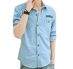 XTX Mens Slim Fit Casual Long-sleeved Lapel Denim Shirt Light Blue M