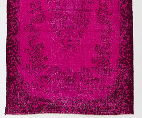4 X 7 Feet Fuchsia Pink, Purple Color Overdyed Turkish Rug