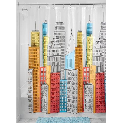 Interdesign metropolitan shower curtain 72 x 72 bright for Bright bathroom sets