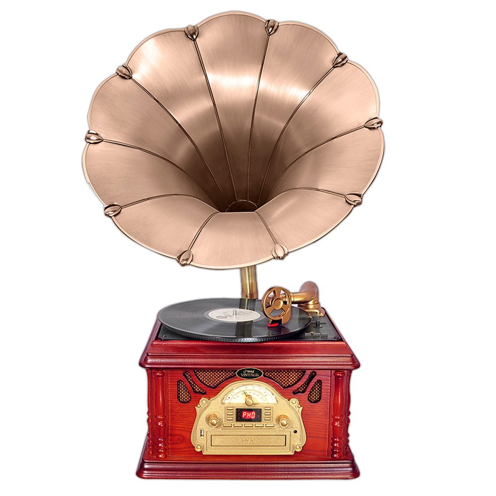 Pyle-Home PTCDS3UIP Classical Trumpet Horn Turntable with AM/FM Radio CD/Cassette/USB & Direct to USB Recording 1