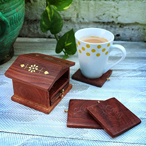 Cute Charming Hand Carved Rosewood Bar Tea Coffee Coaster Set Of 6 with House Shaped Holder