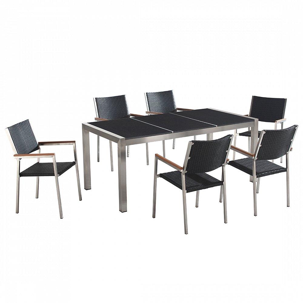 Gartenmöbel schwarz poliert - Granit Edelstahltisch 180cm dreifach mit 6 x Rattan Stühle - GROSSETO