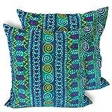 CushionArt Impalla - Throw Pillow Cushion Cover - 18x18in Green - Set of 2