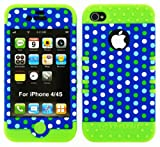 Hybrid 2 in 1 Case Protector Hard Cover Faceplate Skin Green Silicone and Polka Dots Snap for Apple Iphone 4 4s 4g