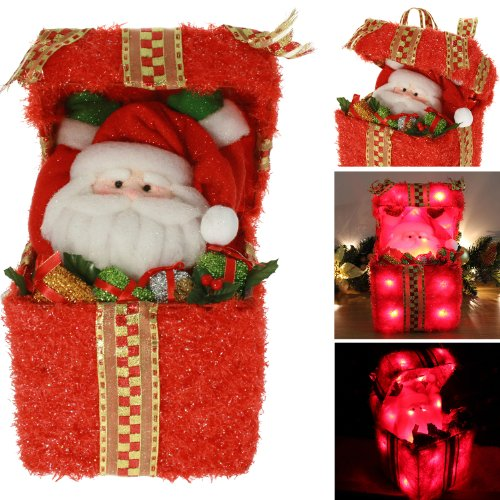 Pre-Lit Father Christmas Santa Claus Surprise Giftbox Table / Floor Decoration Illuminated with 24 Colour Changing LED Lights - Height 36cm