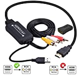 HDMI to RCA Converter, HDMI to RCA Cable, 1080P HDMI to AV Adapter Cable Supports NTSC for Amazon Fire Stick, Roku, Chromecast, Apple TV, PC, Laptop,
