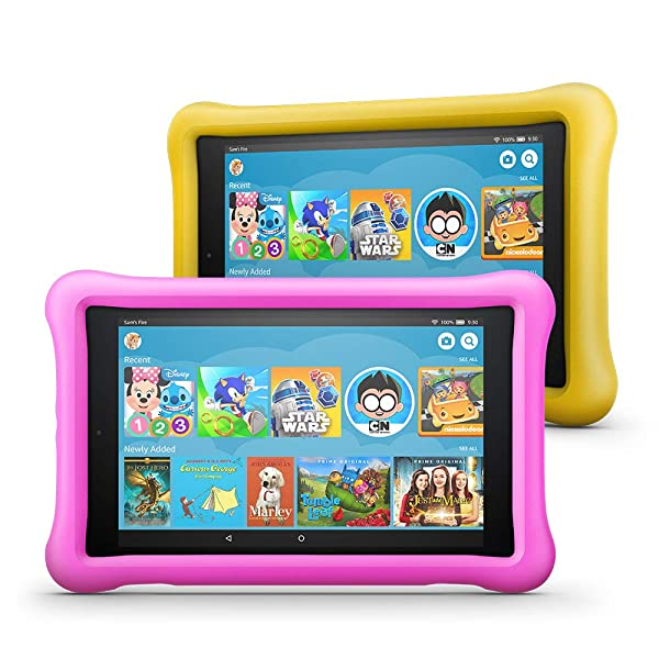 Fire HD 8 Kids Edition Tablet 2-Pack, 8 HD Display, 32 GB, Kid-Proof Case - Pink/Yellow (Color: Pink/Yellow)