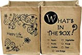 Love Bridge 麻 収納ボックス WHAT'S IN THE BOX & Happy Life 2個セット 花柄&英字ストッカー ジュート