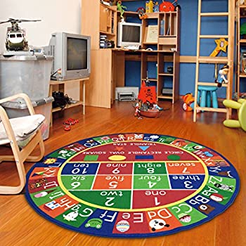 """Furnish my Place 755 Abc with Shape Kids Alphabet Numbers Educational Area Rug, 33"""" Round, Multicolor"""