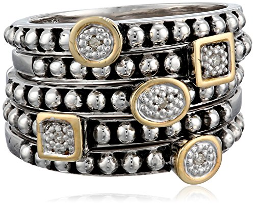 S&G Sterling Silver and 14k Yellow Gold Five Bands with Diamond Accent Stackable Ring, Size 6