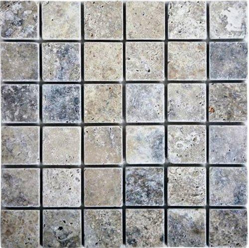 Epoch Tile SI2X2 2x2 Tumbled Travertine, Silver