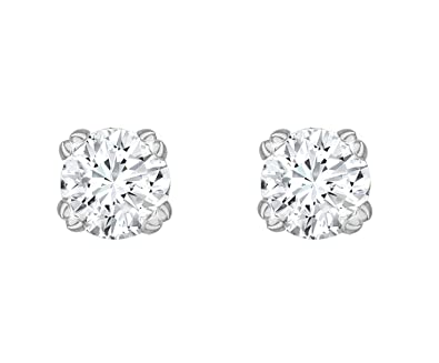 Carissima Gold 9 ct 6 mm Round Cubic Zirconia Stud Earrings
