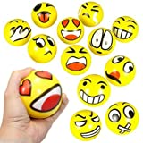 Z.H.B Assorted Big Happy Emoji Face Squeeze Balls For Stress Reducer / Anxiety Relieves (Perfect for theme party, birthday party) Fun Office Holiday Gift Stocking Stuffer (Color: multicolored, Tamaño: small)