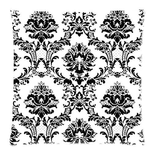 Generic Personalized Black And White Vintage Damask For Zippered Throw Pillowcase 18X18 Inches (One Sides) front-828067