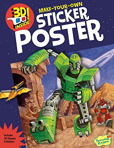Peaceable Kingdom Robot Space Invasion 3D Sticker Activity Poster Book
