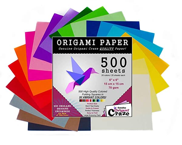 Origami Paper 500 Sheets, Premium Quality for Arts and Crafts, 6-inch Square Sheets, 20 Vivid Colors, Same Color on Both Sides, 100 Design E-Book Included (See back of the cover for download info) (Color: Red, Blue, Green, Yellow, Orange, Purple, Black, White, Pink, Tamaño: 500 Pack)