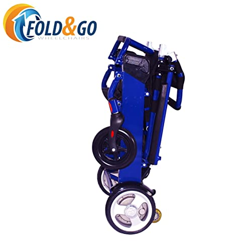 FOLD-N-GO Power Wheelchair (Royal Blue) | Only 46 LBS with Battery | Driving Range 12 Miles
