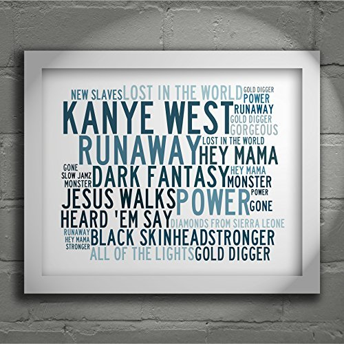 `Crystalline` Art Print - KANYE WEST - Signed & Numbered Limited Edition Typography Unframed 10x8 Inch Singles Wall Art Print - Song Lyrics Mini Poster by LISSOME Art Studio (Kanye West Painting compare prices)