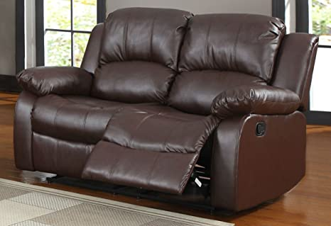 Brown Double Reclining Love Seat By Homelegance