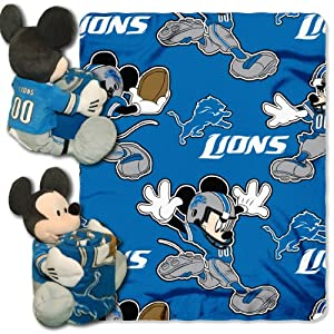 NFL Detroit Lions Mickey Mouse Pillow with Fleece Throw Blanket Set by Northwest