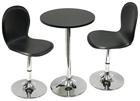 "Winsome Wood Spectrum 3pc Set, 20"" Round Table with 2 Swivel Faux Leather Chairs"