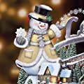 Thomas Kinkade Snowman Holiday Village Sculpture With Lights, Music and Motion by The Bradford Exchange