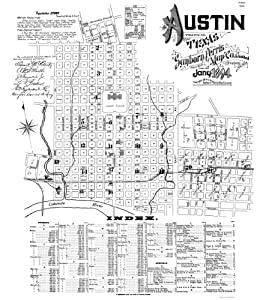 ... - AUSTIN TEXAS (TX) BY SANBORN PERRIS MAP CO 1894 - Matte Art Paper