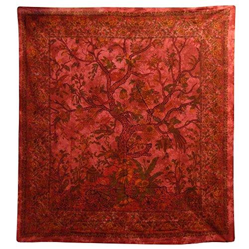 Colcha Árbol del la vida rojo 230x205cm pájaro flores Tie Dye Estilo