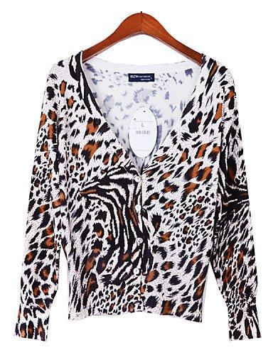 WXD da donna stampa leopardata/A pois/bianco/marrone/verde/beige maglioni, Casual/Stampa Scollo a V, maniche lunghe, one-size-green, one-size-green